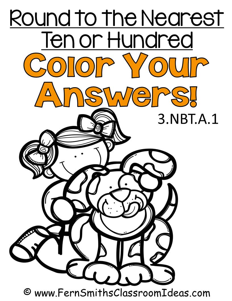 Fern Smith's Classroom Ideas Rounding to the Nearest Ten or Hundred - Color Your Answers Printables 3.NBT.A.1