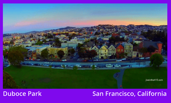 An aerial photo above Duboce Park in San Francisco, California