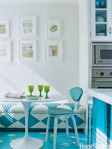 modern blue and white dining room and kitchen