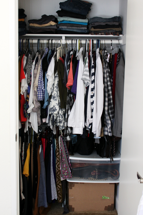Right Now I Have It Divided By Type: Pants Folded On The Top; Dresses And  Long Cardigans On The Far Left; Tops On...top; Sweaters, Blazers, And  Skirts On ...