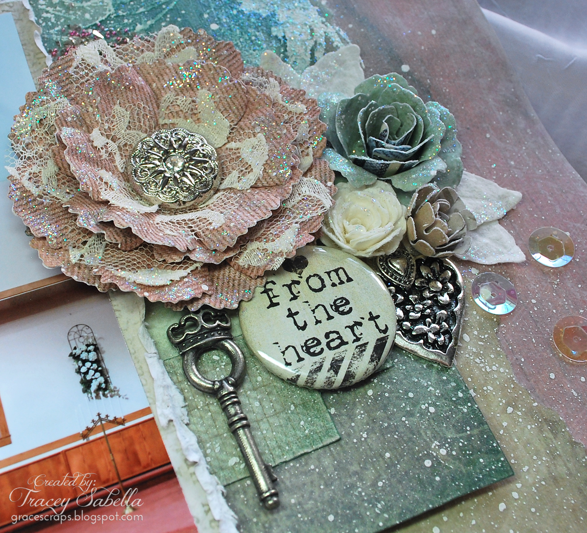 Mixed Media Layout by Tracey Sabella for Donna Salazar - Love; Wedding; Faith; Handcrafted Flowers