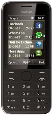 Nokia 208 (Single SIM) disponible con carcasa en color negro, azul, blanco, amarillo y rojo