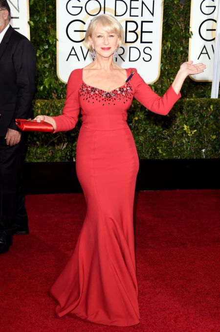 Helen Mirren in a Dolce and Gabbana gown at the Golden Globes 2015