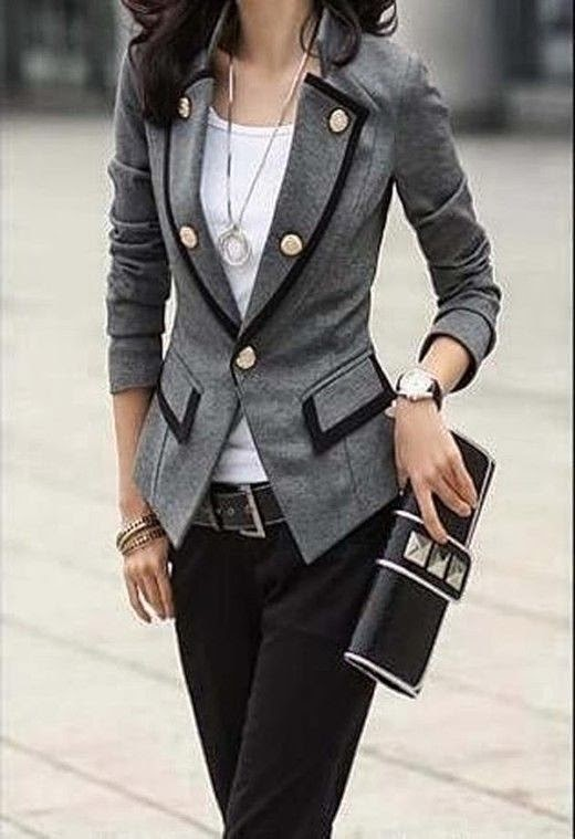 Fall Work Outfit With Grey Blazer. & white shirt black pant