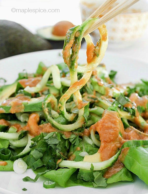 Cucumber Noodle Salad with Avocado and a Spicy Cashew Butter Dressing - vegan and gluten-free recipe