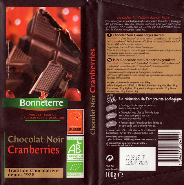 tablette de chocolat noir gourmand bonneterre noir cranberries