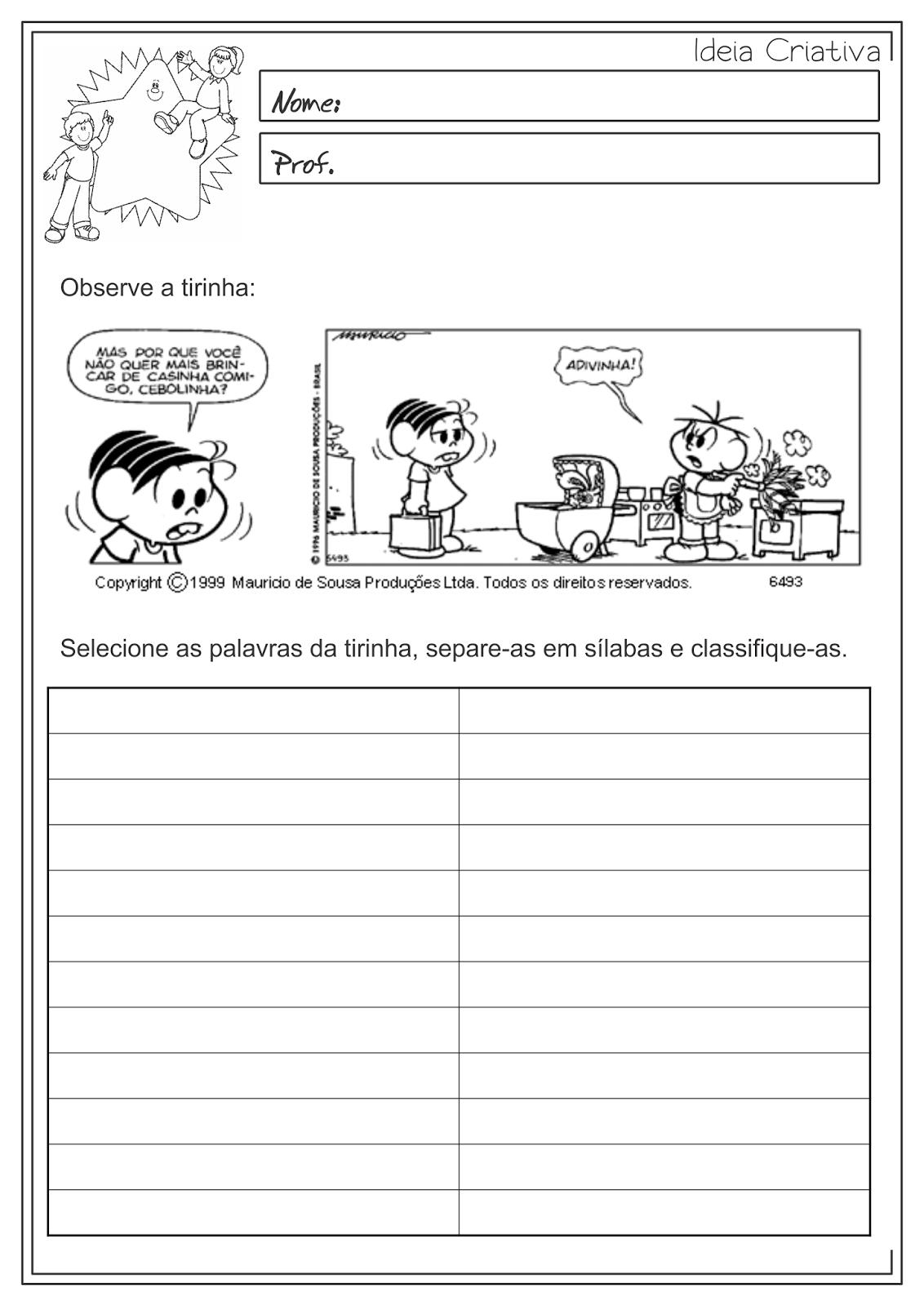 Atividades Educativas Classificação e Separação de Sílabas Língua Portuguesa para Ensino Fundamental