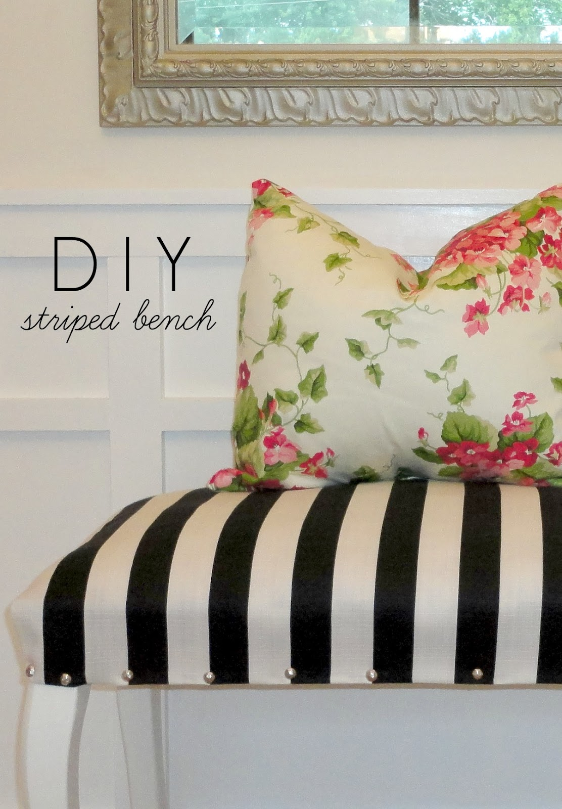 DIY Striped Upholstered Bench