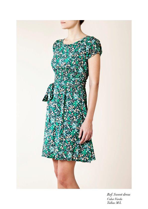 Vestido estampado flores verde