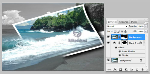 Edit Foto Photoshop, Membingkai ombak dengan photoshop