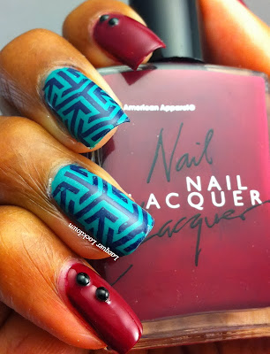 Lacuqer Lockdown - American Apparel Berry, Essie Naughty Nautical, Pueen Nail Art, Pueen 11, Pueen Sumptuous Gallery, stamping, nail art, OPI House Of Blues, abstract nail art, easy nail art, simple nail art, cute nails, cute nail art, nail art studs, studs, fall nail art