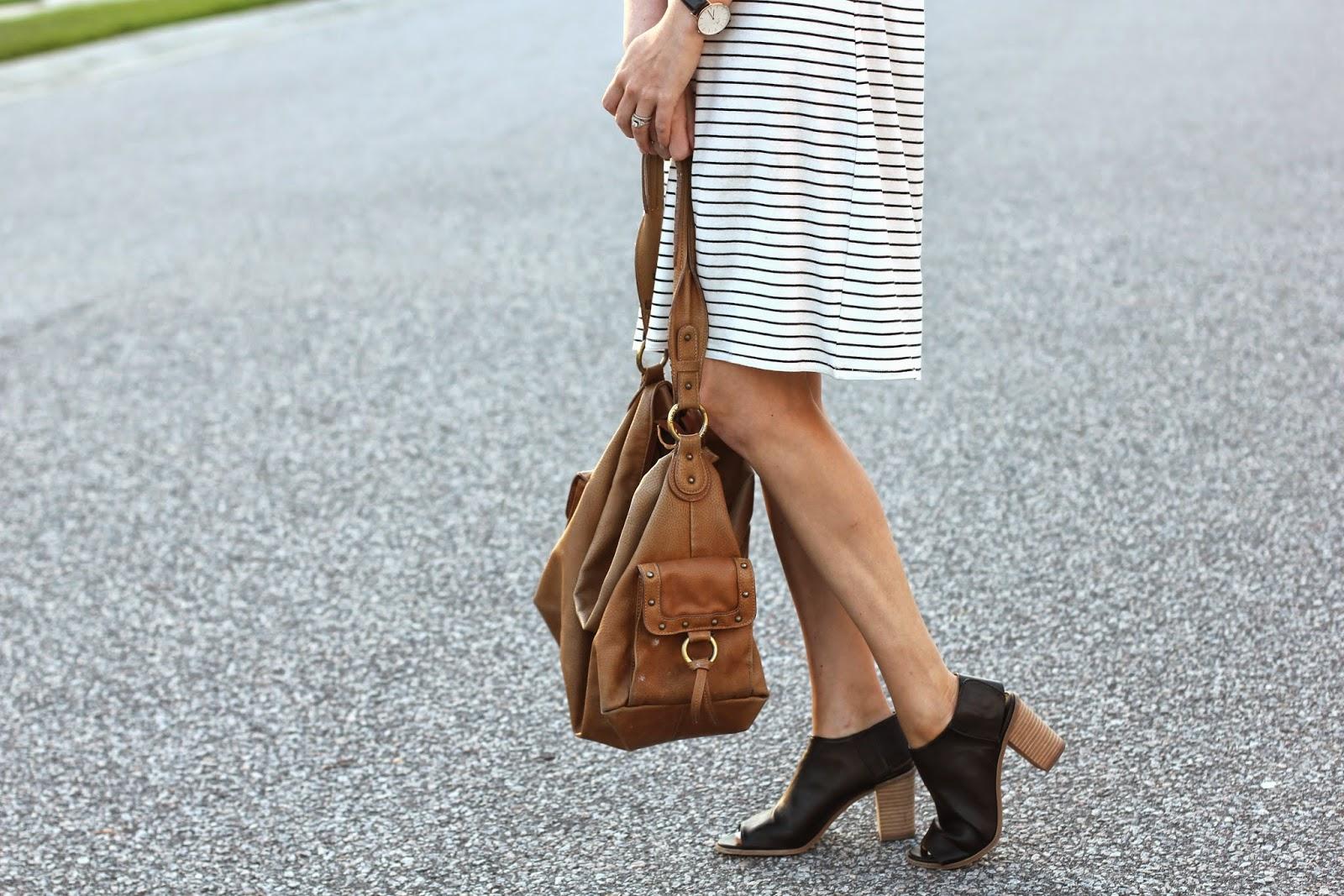 stripe dress + brown bag + daniel wellington watch + black open open toe mules // like the yogurt