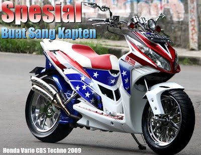 Modifikasi Honda Vario Techno Captain Amerika Style