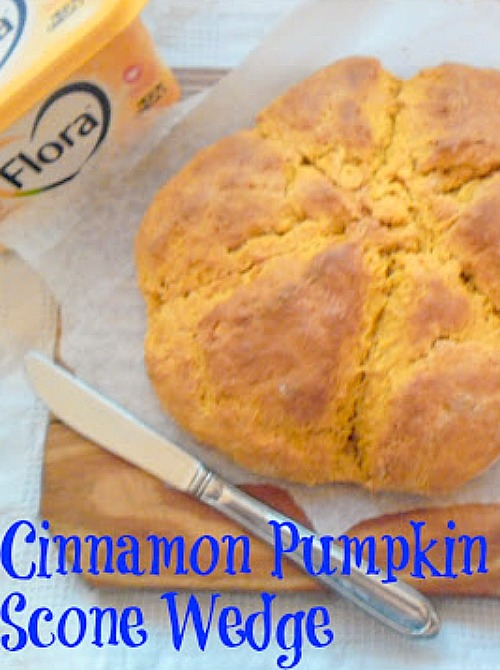 Cinnamon Pumpkin Scone Wedge ~ Served warm with butter for breakfast or tea time and you have a winner! #PumpkinRecipe #CinnamonPumpkin #Pumpkin #Scone