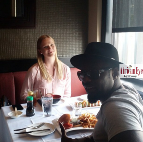 Jim Iyke takes picture with his Lithuanian girl friend who had a baby for him.