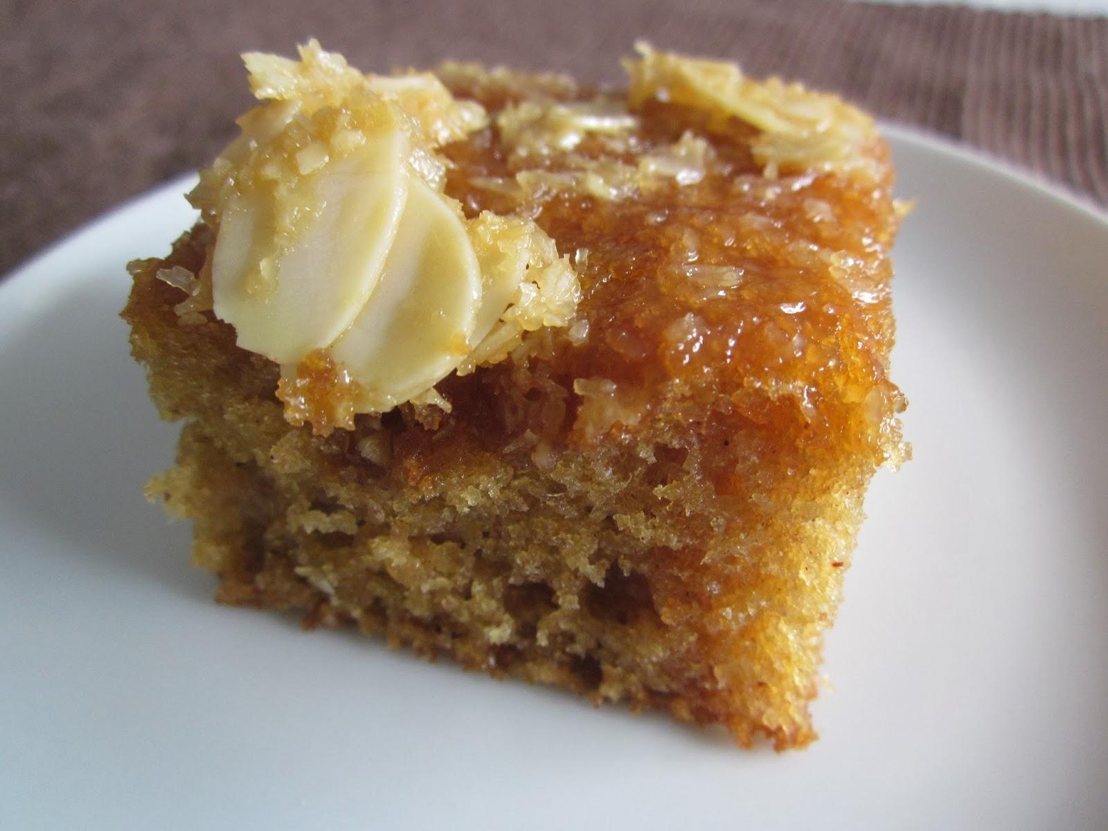 caramel almond spice yoghurt cake