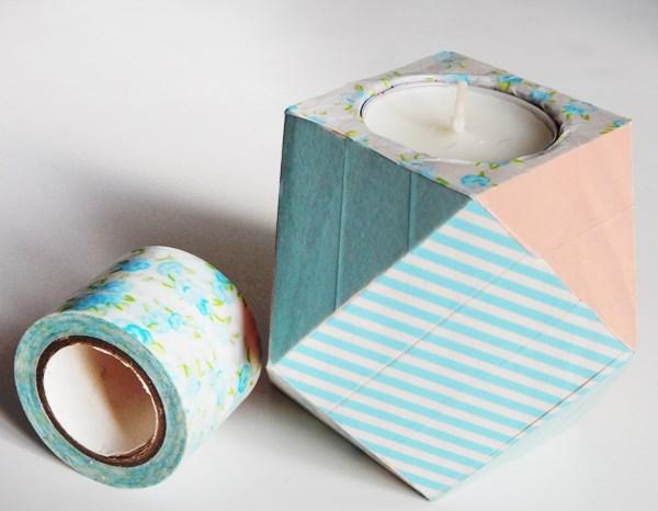 DIY : le bougeoir géométrique au masking tape