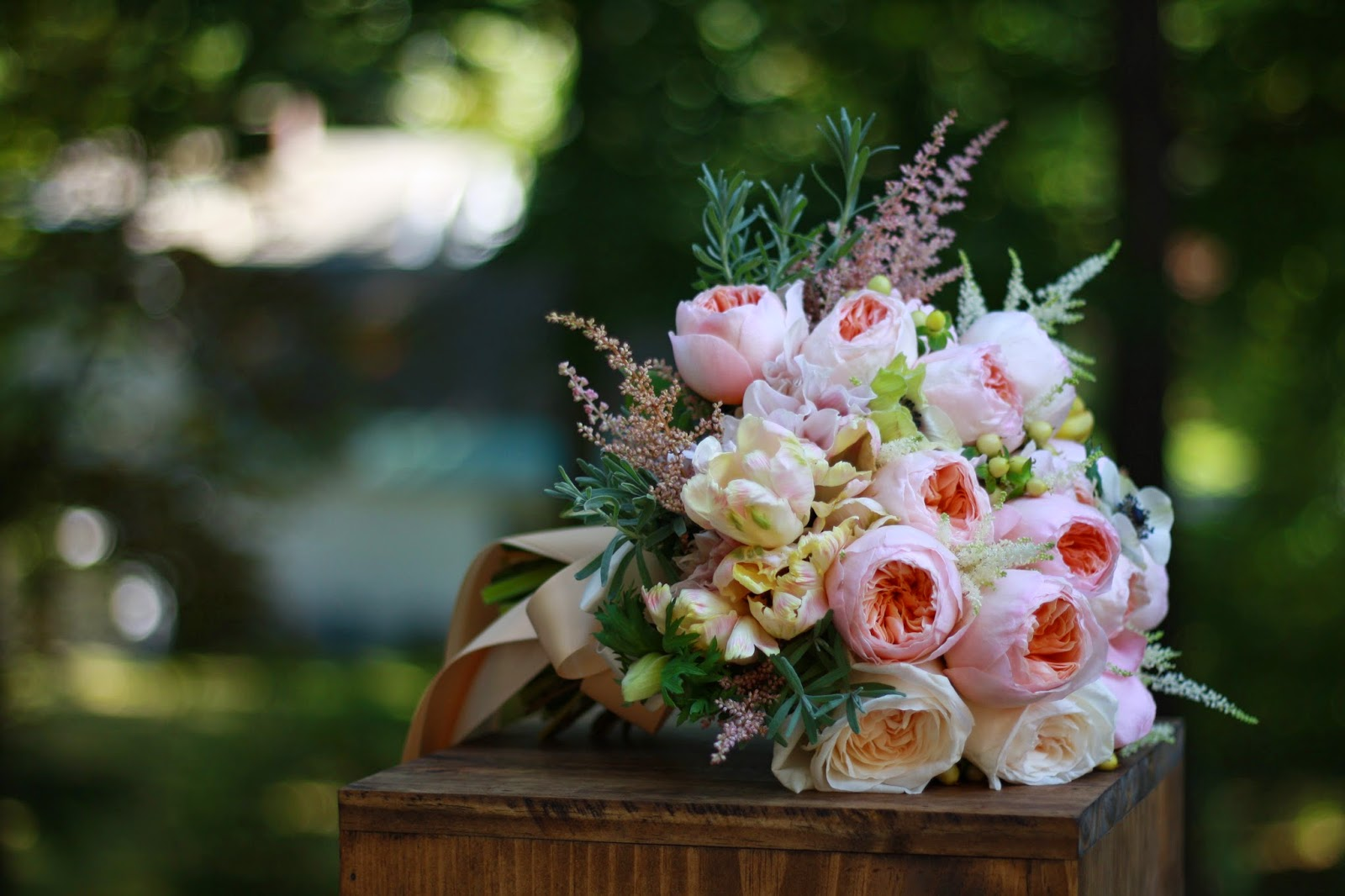 Garden Rose Bouquet - Elegant, lush and romantic hand-tied bouquet with movement composed of pale peach Juliet garden roses, blush garden roses, café au lait dahlias, anemones, pale pink astilbe, cream hypericum berry, white hydrangea -  Wedding Bouquet - Splendid Stems Wedding Flowers - Wedding Florist