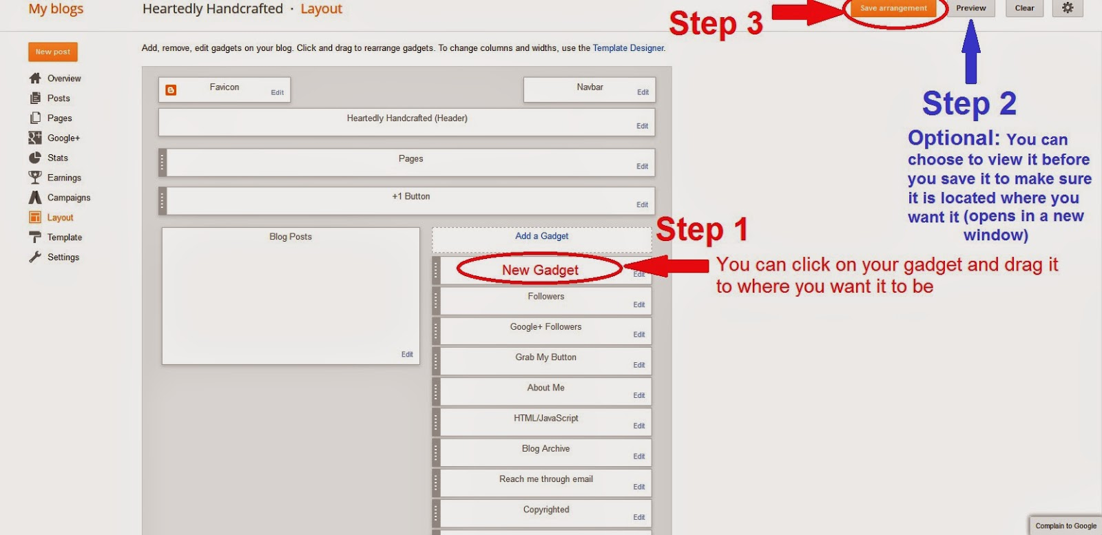 How to Add a Gadget in Blogger