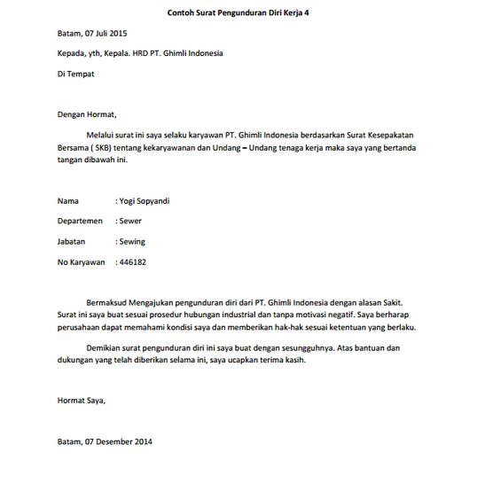 kumpulan contoh surat pengunduran diri kerja terbaru