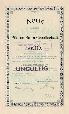 Share of 500 Francs in the Pilatus-Bahn-Gesellschaft from Alpnach