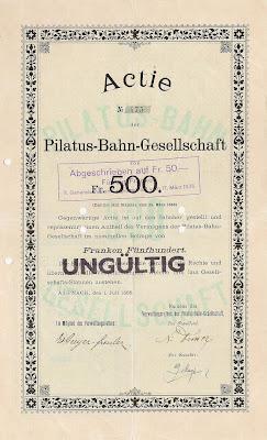 Share of 500 Francs in the Pilatus-Bahn-Gesellschaft from Alpnach