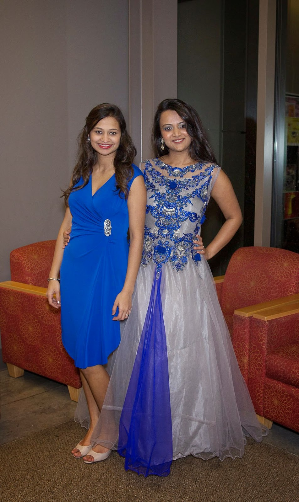 cocktail dresses, Indian girl wearing a beautiful gown, grey and blue cocktail dress, seattle fashion stores, Indo Western gowns