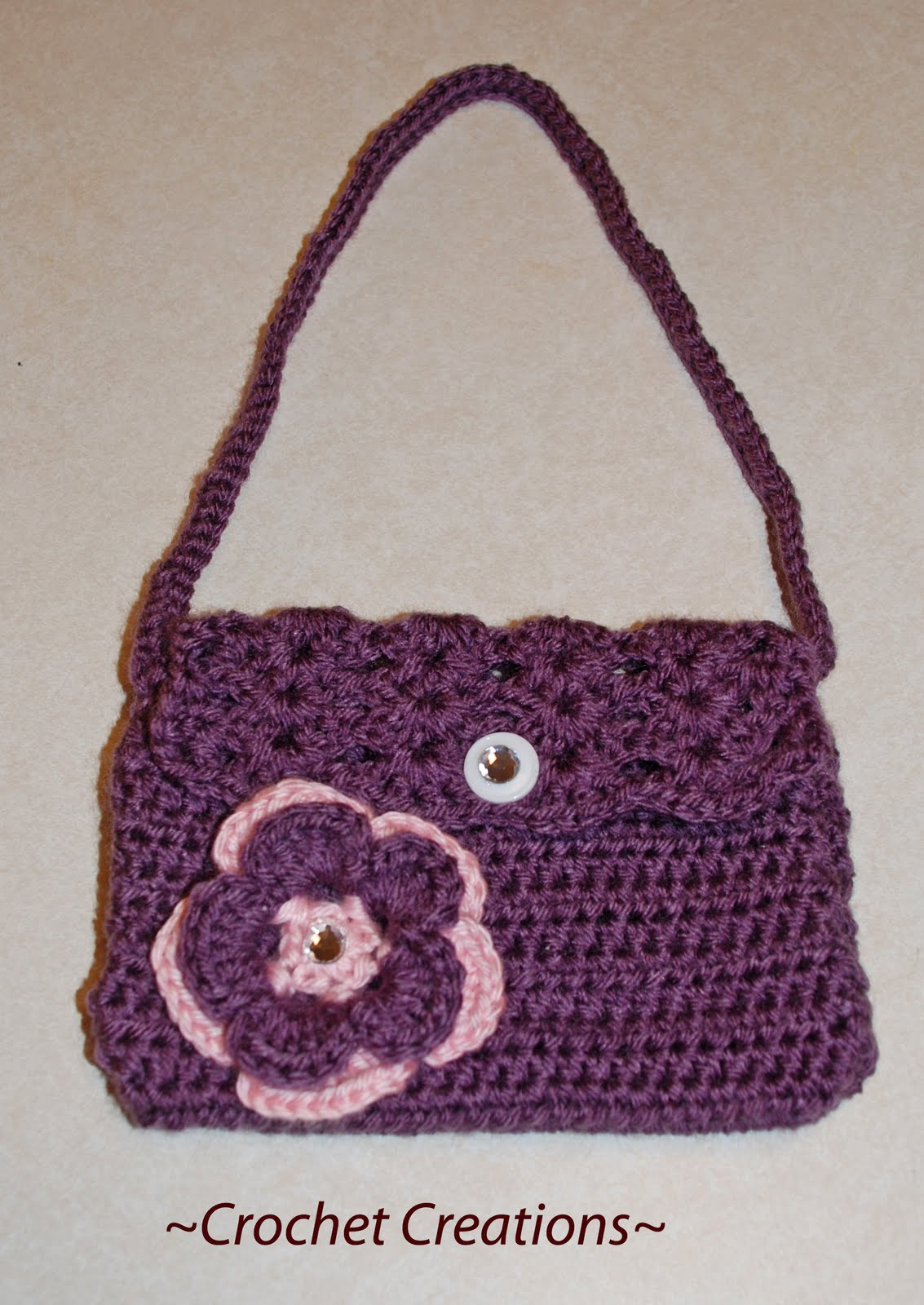 Crochet Purse For Child : Amys Crochet Creative Creations: Crochet Child Purse with a Flower