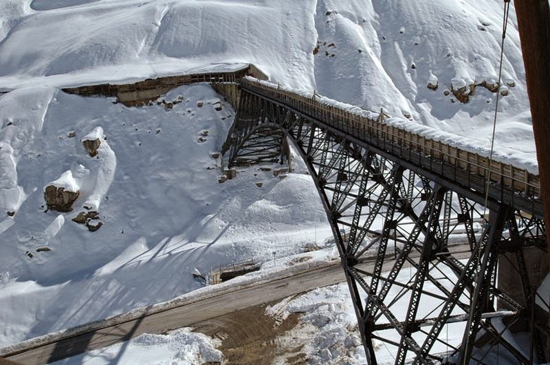 A bridge in the mining town of Sewell, atop the Andes mountains some hundred kilometers south of Santiago, the capital city of Chile