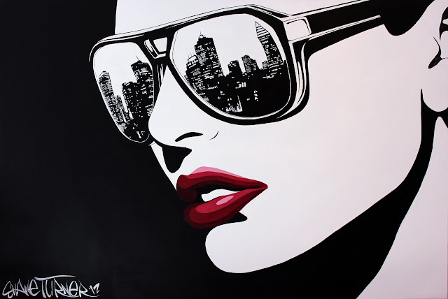 Pop Art noir comic styled painting in black and white of a girl wearing sunglasses with the city of montreal reflected in the lenses looking off into the distance. Alizarin crimson red lips.