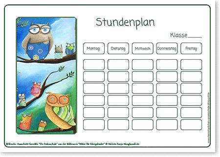 Stundenplan Die Eulenschule für die Grundschule
