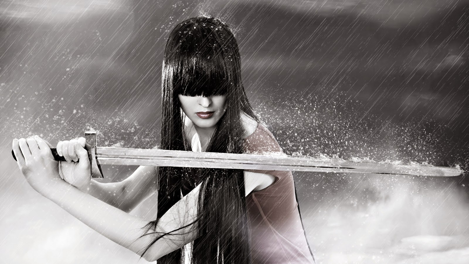 Sword warrior girl in rain