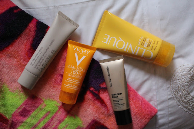 SPF line up - Vichy, Bare Minerals, Clinique, Laura Mercier