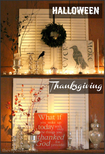 reversible, artwork, thanksgiving, Halloween, decor, mantel