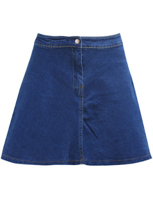 Romwe's Button Flare Denim Skirt