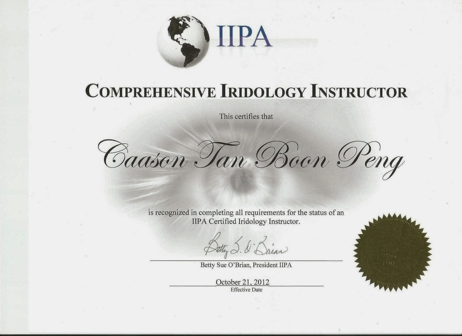 Certified Comprehensive Iridology Instructor