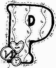 desenho de alfabeto de tecido e botoes para pintar letra P