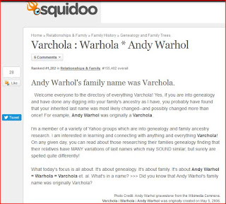 Varchola Warhola Andy Warhol Squidoo lens screen capture