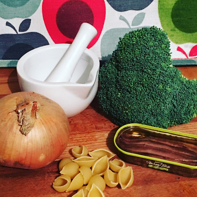 ingredients for pasta with broccoli and sausage ragu