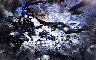 Black Rock Shooter Bike Anime Girl Weapon Black Hair Blue Eye Flame Chain Skull HD Wallpaper Desktop PC Background