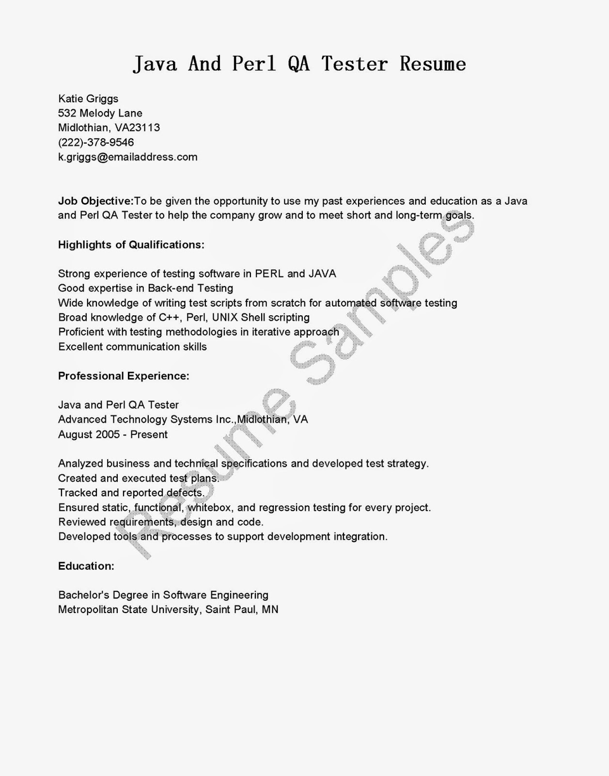 resume samples  java and perl qa tester resume sample