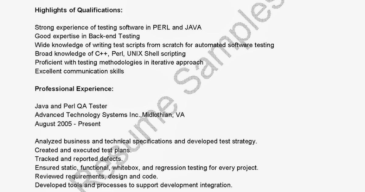 resume samples java and perl qa tester resume sample