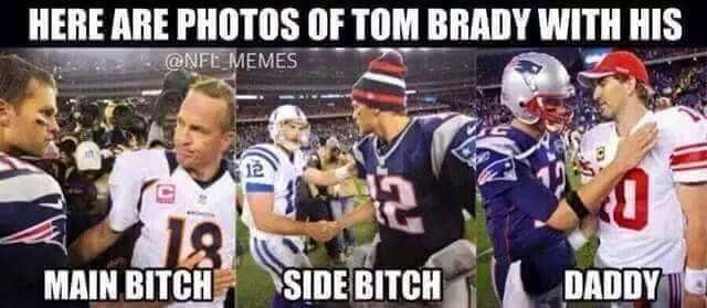 Here are photos of tom brady with his. main bitch. side bitch. daddy