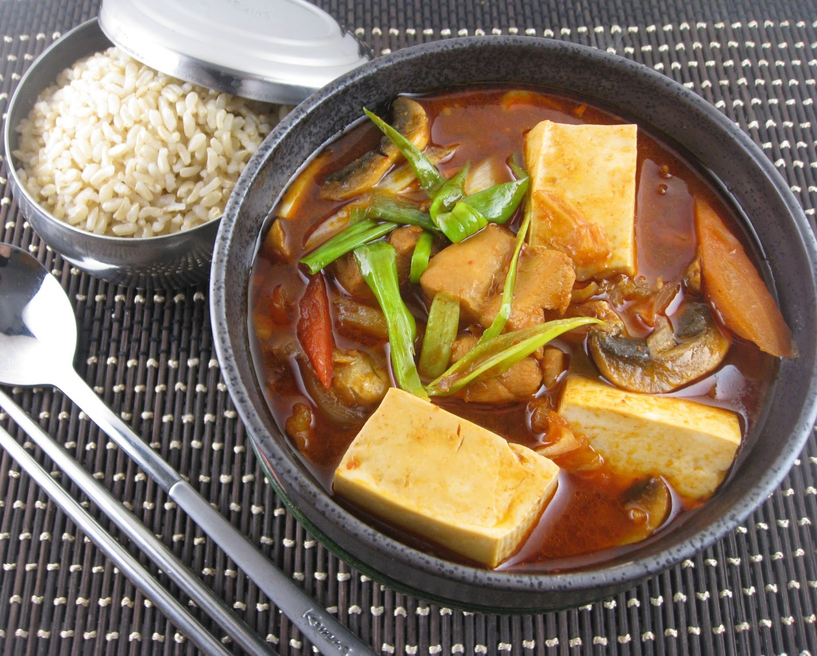 ... Dakjjim JjiGae (Stewed Bean Curd and Chicken in Bean and Chili Paste
