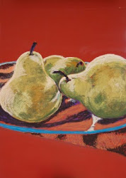 PEARS ON GLASS PLATTER