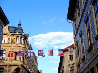 Scandinavian Flags Under Blue Skies