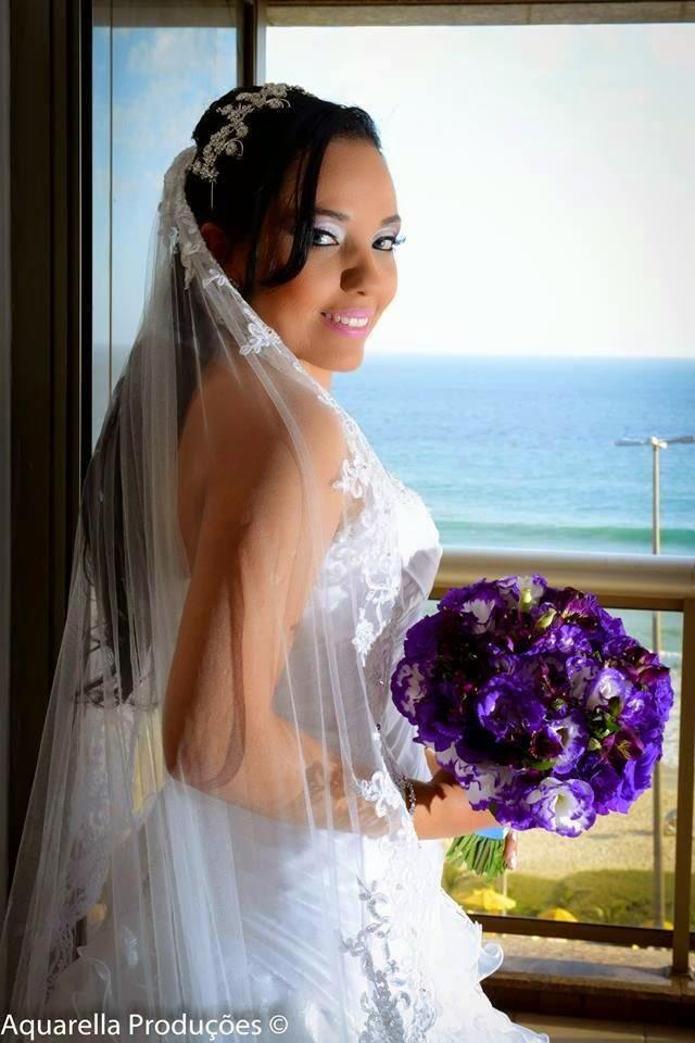 Bouquet de noiva Roxo e Branco