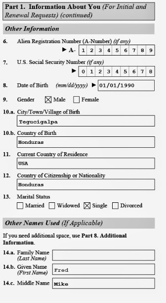 Image of other personal information on ins form i-821-d uscis for daca dreamers
