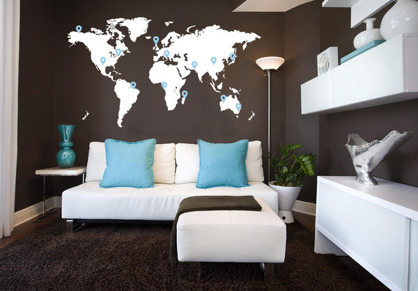 Interior design map living room world map interior wall art stickers design design nex gumiabroncs Image collections