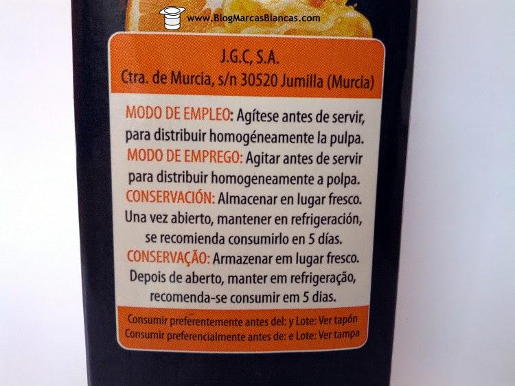 Zumo exprimido de naranja Rio D'Oro de Aldi fabricado por J. García Carrión (Don Simón) en Villanueva de los Castillejos (Huelva).